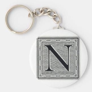 "Block Letter ""N"" Woodcut Woodblock Inital Basic Round Button Key Ring"