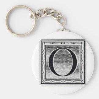 "Block Letter ""O"" Woodcut Woodblock Inital Basic Round Button Key Ring"