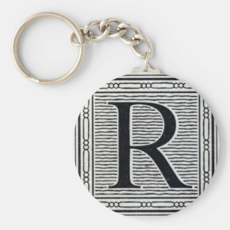 "Block Letter ""R"" Woodcut Woodblock Inital Keychain"