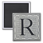 "Block Letter ""R"" Woodcut Woodblock Inital Square Magnet"