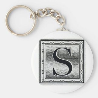 """Block Letter """"S"""" Woodcut Woodblock Inital Basic Round Button Key Ring"""