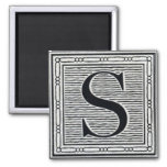 "Block Letter ""S"" Woodcut Woodblock Inital Square Magnet"