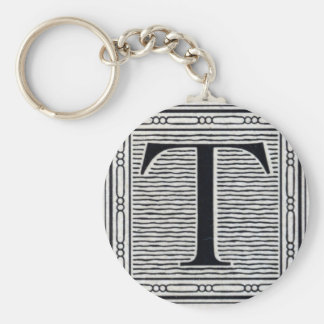 """Block Letter """"T"""" Woodcut Woodblock Inital Basic Round Button Key Ring"""