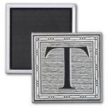 "Block Letter ""T"" Woodcut Woodblock Inital Square Magnet"