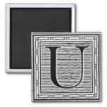 "Block Letter ""U"" Woodcut Woodblock Inital Square Magnet"