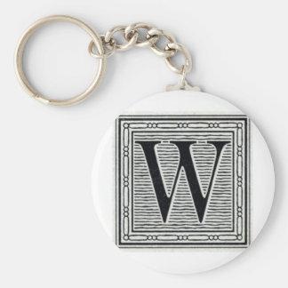 "Block Letter ""W"" Woodcut Woodblock Inital Basic Round Button Key Ring"