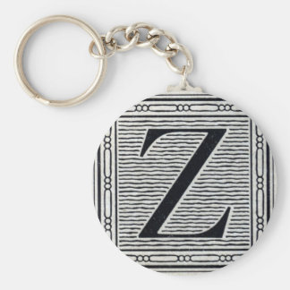 "Block Letter ""Z"" Woodcut Woodblock Inital Basic Round Button Key Ring"