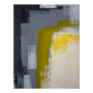 'Block Party' Grey and Yellow Abstract Art Poster