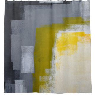 'Block Party' Grey and Yellow Abstract Art Shower Curtain
