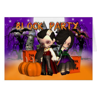Block Party Halloween Greeting Card