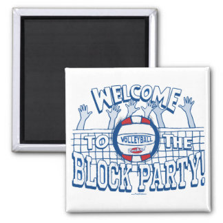 Block Party Volleyball by Mudge Studios Square Magnet