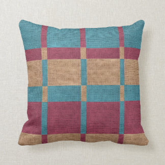 Block Pattern Faux Burlap Cushion