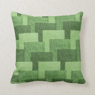 Block Pattern Faux Burlap Green Cushion
