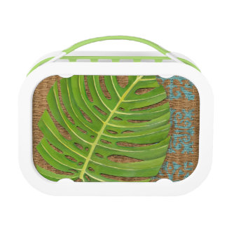 Block Print Palm on Wicker Background Lunchbox