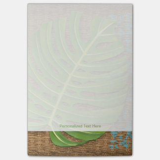 Block Print Palm on Wicker Background Post-it® Notes