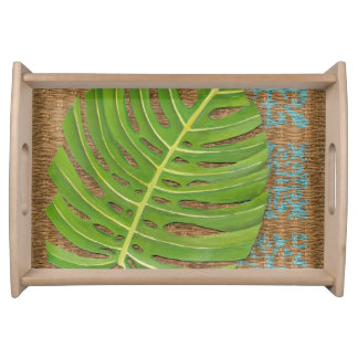 Block Print Palm on Wicker Background Service Tray