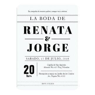 BLOCK Style Spanish Wedding Invitation