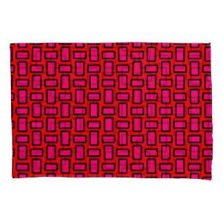 Blocks Modern Red Pink Pillowcase Set