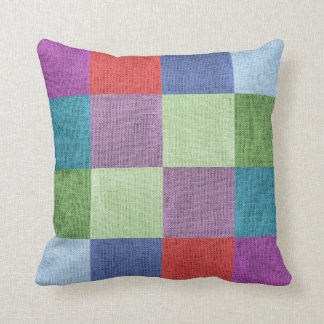 Blocks of Colour Pattern Faux Burlap Cushion