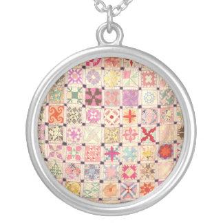 Blocks Quilt Necklace - Round