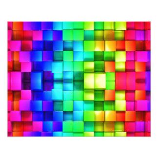 Blocks Rainbow 3d Graphics Background 11.5 Cm X 14 Cm Flyer