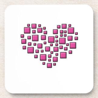 Blocky Heart Drink Coaster