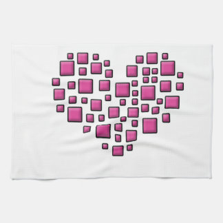 Blocky Heart Tea Towel