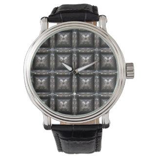 Blocky Metal Pattern Fashion Watch- Steampunk Watch