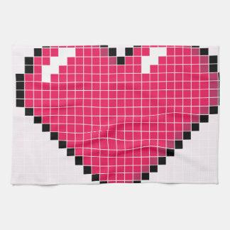 Blocky Pink Heart Kitchen Towel