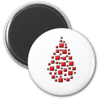 Blocky Red Drop 6 Cm Round Magnet