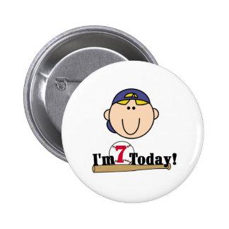 Blond Boy Baseball 7th Birthday 6 Cm Round Badge