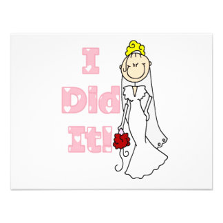 Blond Bride I Did It Tshirts and Gifts Personalized Invites