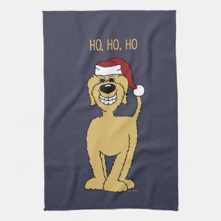 blond Doodle Santa Tea Towel