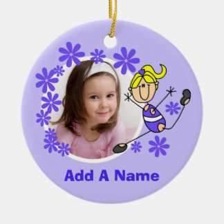 Blond Female Stick Figure Gymnast Ornament