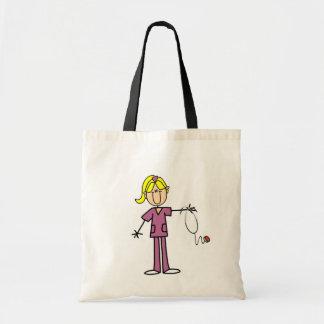 Blond Female Stick Figure Nurse Canvas Bags