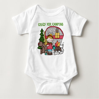 Blond Girl Crazy For Camping Baby Bodysuit