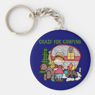 Blond Girl Crazy For Camping Basic Round Button Key Ring