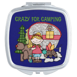 Blond Girl Crazy For Camping Travel Mirror