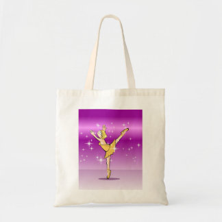 Blond girl dances ballet dressed gilded tote bag