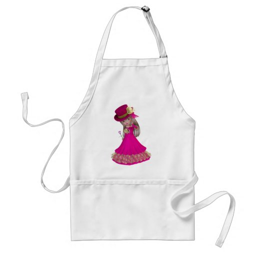 Blond Girl Holding a Pink Rose Aprons