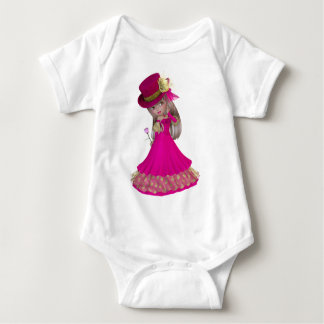 Blond Girl Holding a Pink Rose Baby Bodysuit