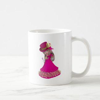 Blond Girl Holding a Pink Rose Basic White Mug