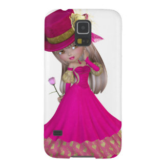 Blond Girl Holding a Pink Rose Galaxy S5 Cover