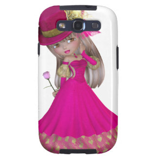 Blond Girl Holding a Pink Rose Galaxy S3 Covers