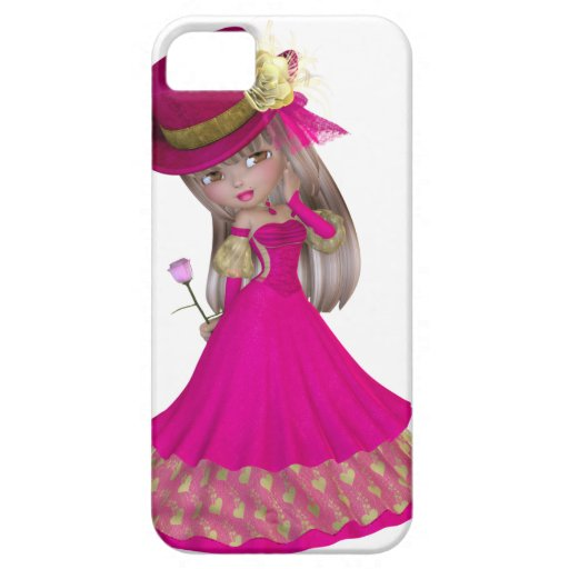 Blond Girl Holding a Pink Rose iPhone 5 Cases