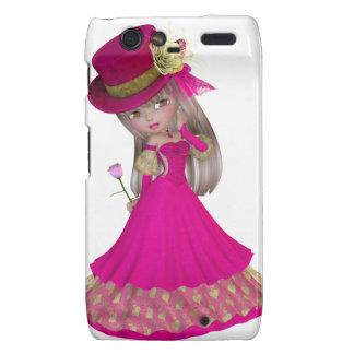 Blond Girl Holding a Pink Rose Motorola Droid RAZR Cases