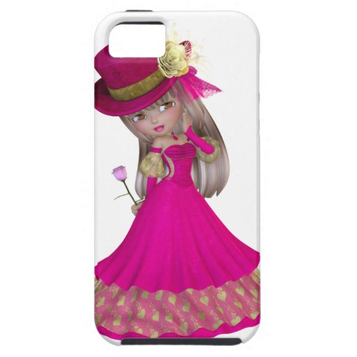 Blond Girl Holding a Pink Rose iPhone 5 Cover