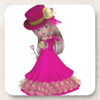 Blond Girl Holding a Pink Rose Beverage Coaster