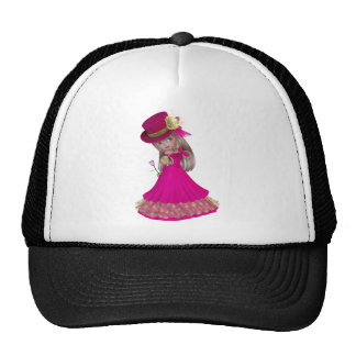 Blond Girl Holding a Pink Rose Trucker Hat
