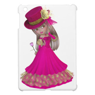 Blond Girl Holding a Pink Rose iPad Mini Cases